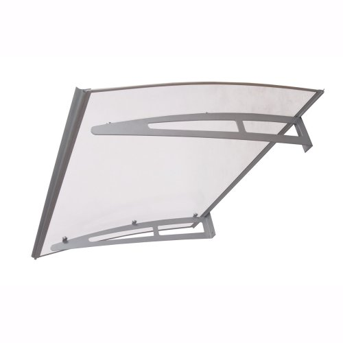 900 x1400mm Premium Canopy Silver Aluminium Brackets Solid Clear Sheet