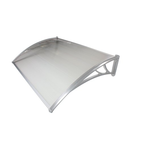 700mm x 1200mm Door Canopy Grey Brackets Multiwall Clear