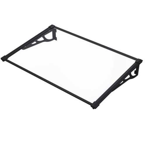 900mm x 1200mm Interlockable Canopy Black Aluminium Bracket Solid Clear Sheet