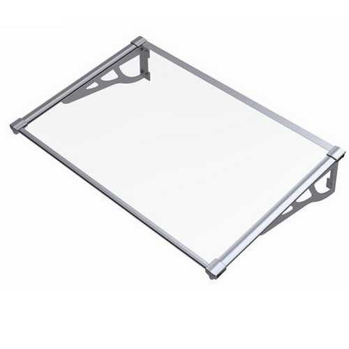 900mm x 1200mm Interlockable Canopy Silver Aluminium Bracket Solid Clear Sheet