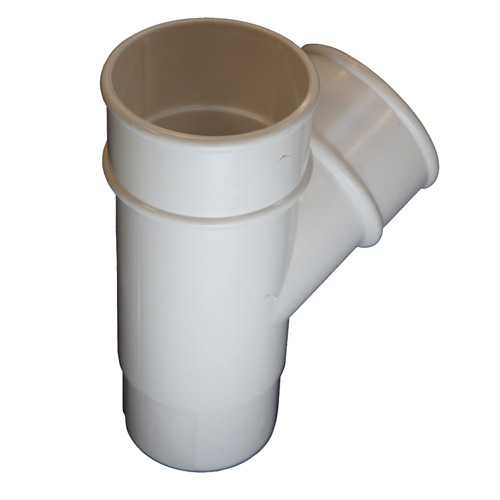 Round Downpipe 112° Branch White