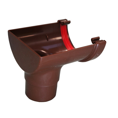 Round Gutter Stopend Outlet Brown