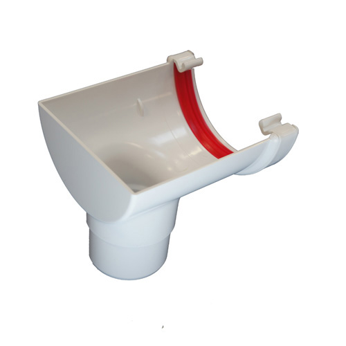 Round Gutter Stopend Outlet White