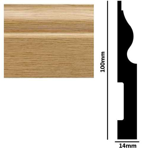 2.90M x 100mm x 14mm Ogee Skirting Board Light Oak