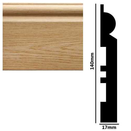 2.90M x 140mm x 17mm Torus Skirting Board Light Oak