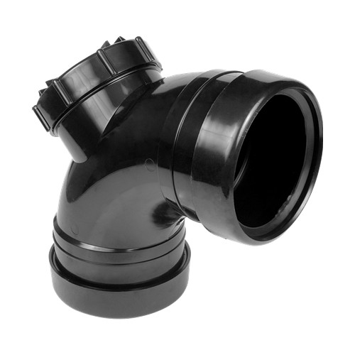 110mm x 92.5 deg Soil Access Bend - Double Socket BLACK