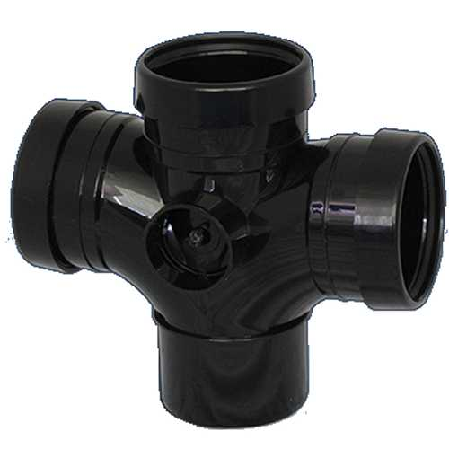 110mm x 92.5 deg Double T Branch - Triple Socket BLACK