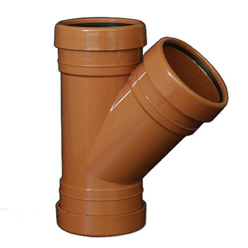 110mm 45deg Y Branch Underground Drainage - TRIPLE SOCKET