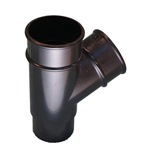 Round Downpipe 112° Branch Black