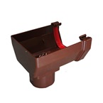 Square Gutter Stopend Outlet Brown