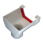 Square Gutter Stopend Outlet White